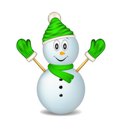Smiling snowman wearing mittens cap and scarf vector