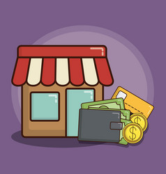 Store and money icon vector