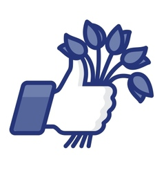 Thumbs Up icon with bunch of flowers vector image
