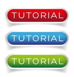 Tutorial button set vector image