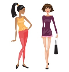 Two young beautiful fashionable woman vector image
