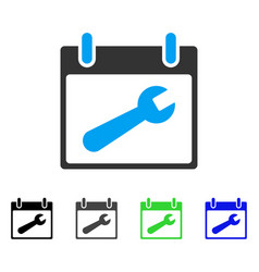 Wrench tool calendar day flat icon vector
