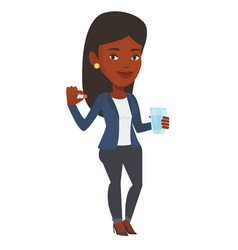 Young african-american woman taking pills vector