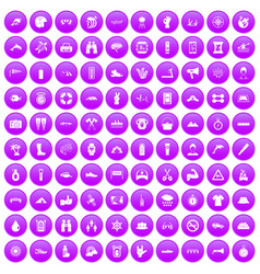 100 rafting icons set purple vector