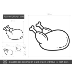Roasted chicken line icon vector