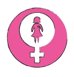 Emblem bubble with a woman inside defense vector