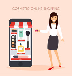 Girl make shopping online from phone sale flat vector