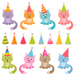 Set of cats and colorful birthday hats vector