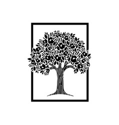 Hand tree concept for charity help vector