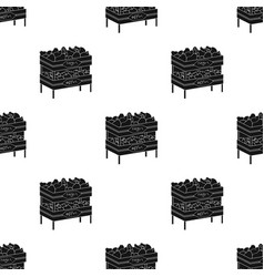 Raw food lying on rack shelves icon in black style vector