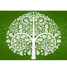 Silver buddha tree on a green background vector