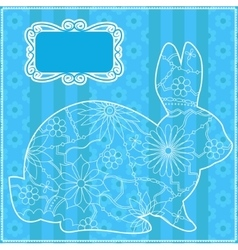 Blue background with rabbit vector