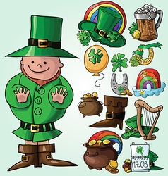 Set of st patricks day symbols vector