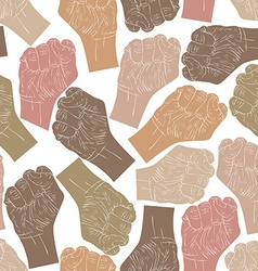 Clenched fists seamless pattern background for vector