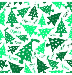 Set of christmas green tree decoration seamless vector