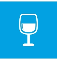 Wine glass icon white vector