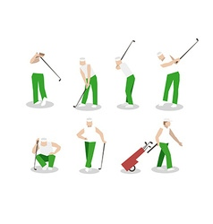 People playing golf set swing with a golf club vector