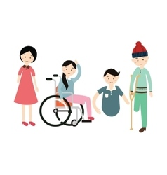 World disability day disabled people flat vector
