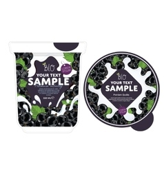 Currant yogurt packaging design template vector