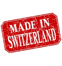 Made in switzerland red square grunge stamp vector