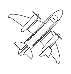 Flying airplane icon line design vector