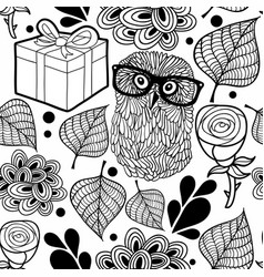Black and white pattern with owl and gifts vector