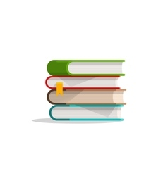 Books stacked pile and bookmark textbook stack vector