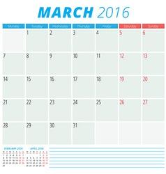 Calendar 2016 flat design template March Week vector image vector image