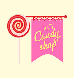 Candy shop or store logo label or badge design vector