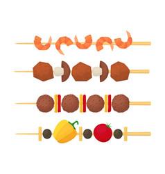 cartoon color kebab on wooden skewers set vector image