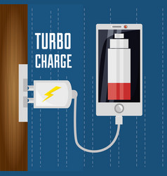 cellphone with power cable to charge the battery vector image