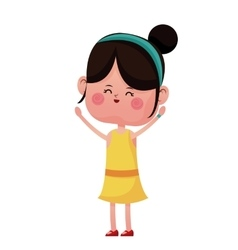 Cheerful girl hands up lovely vector