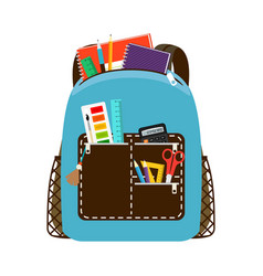 Children school blue bag pack vector