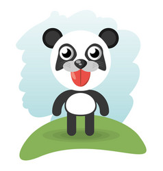 cute panda animal wildlife vector image