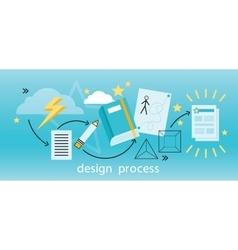 Design process banner flat concept vector