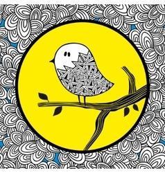Doodle bird on the sun background vector image