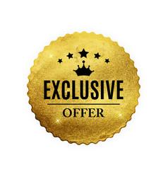 exclusive quality shiny golden label luxury badg vector image