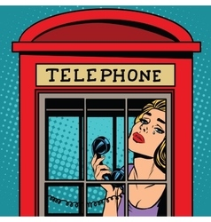 Girl crying in the red telephone booth retro vector