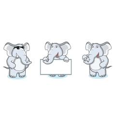 Gray elephant mascot happy vector