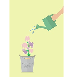Hand watering flower in pot vector image vector image
