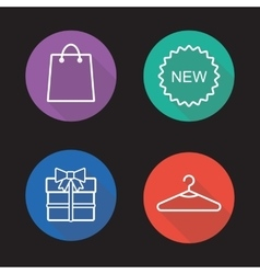 Holiday shopping flat linear icons set vector