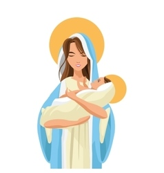 holy mary holding baby jesus icon vector image