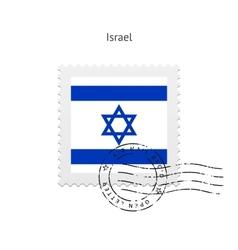 Israel Flag Postage Stamp vector image
