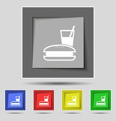 Lunch box icon sign on original five colored vector