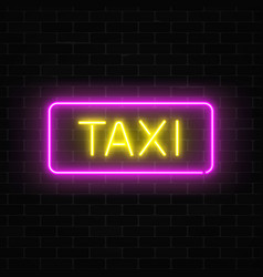 Neon uber and taxi transportation services signs vector