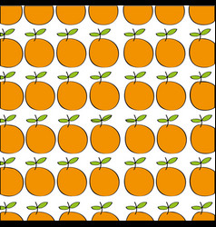 Oranges pattern fresh fruit drawing icon vector