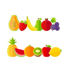 Organic farm fruits in flat style vector