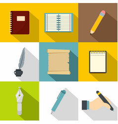 paper work icons set flat style vector image
