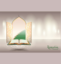 Ramadam kareem text greeting card open book of vector