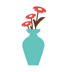 red flowers in blue vase vector image